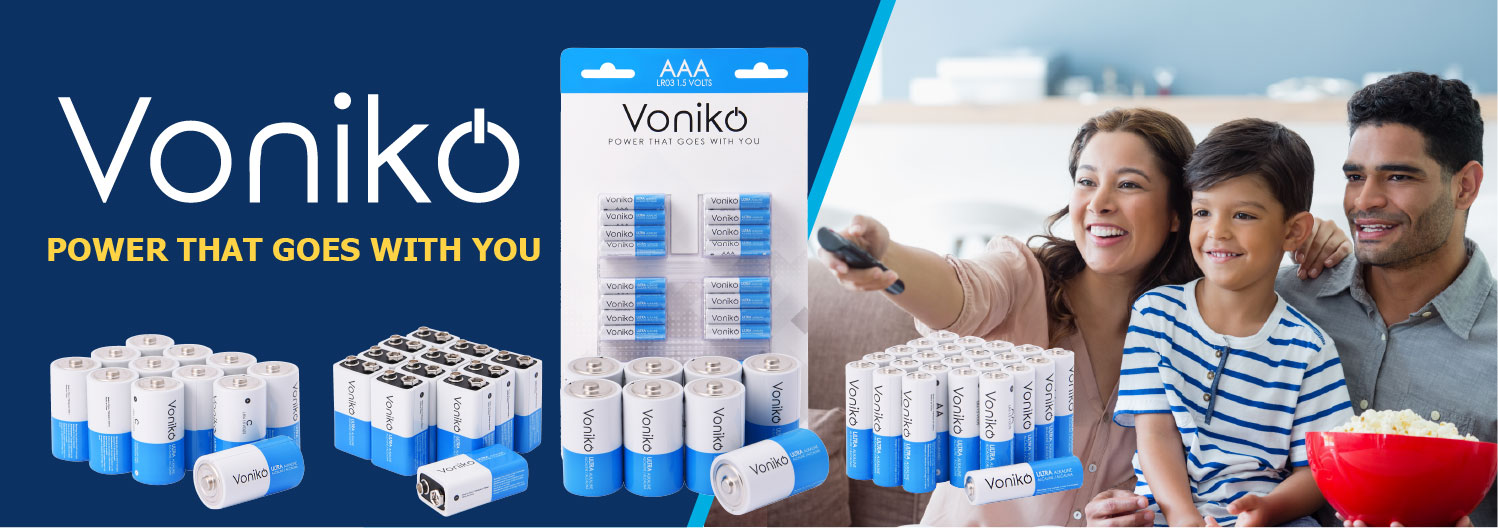 Family sitting on couch using Voniko batteries