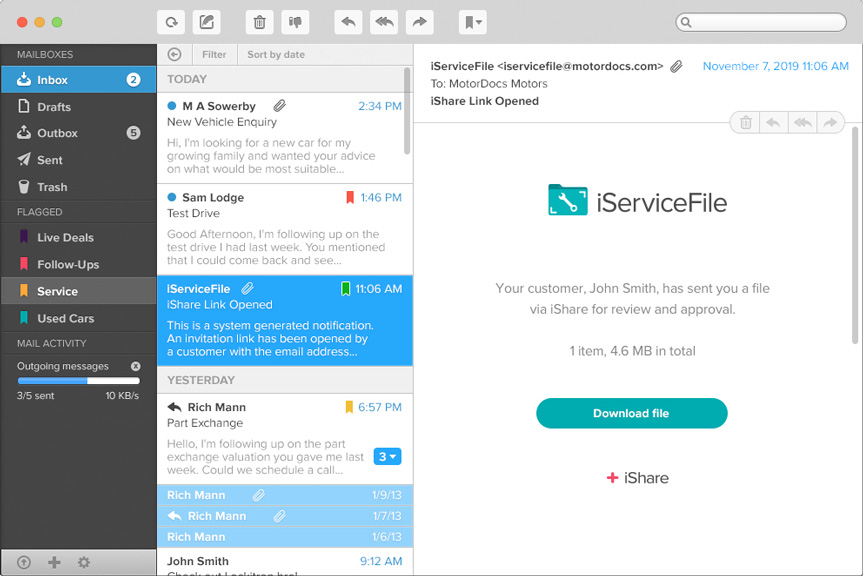 iServiceFile email being shown on a screen