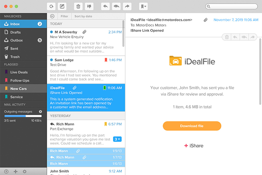 iDealFile email showing in an inbox