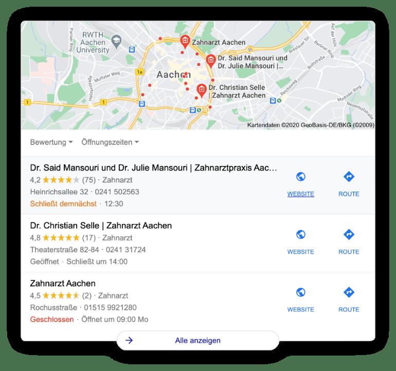 Local SEO Snippet von Google mit Suchbegriff Zahnarzt Aachen.