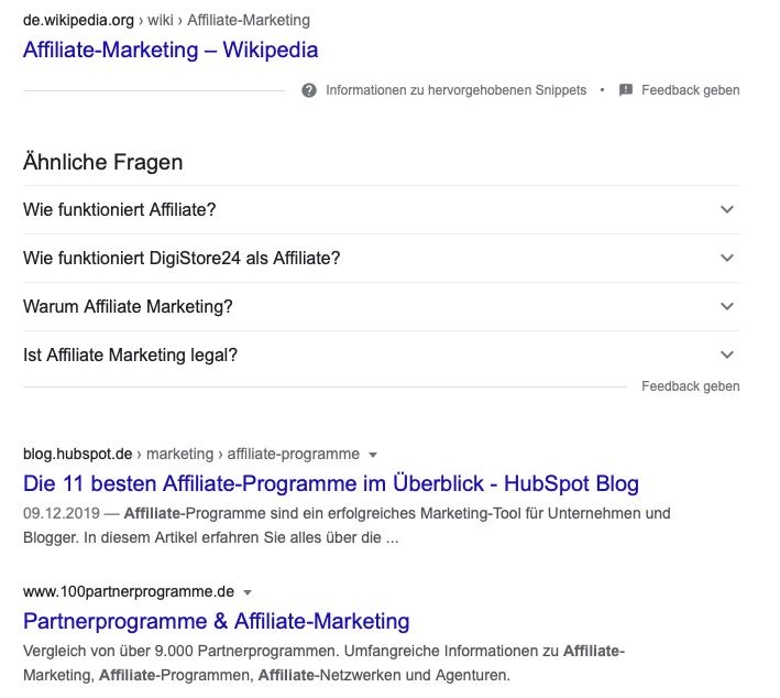 """Google-Suche zum Keyword ,,affiliate"""" zeigt SEO Ergebnisse."""