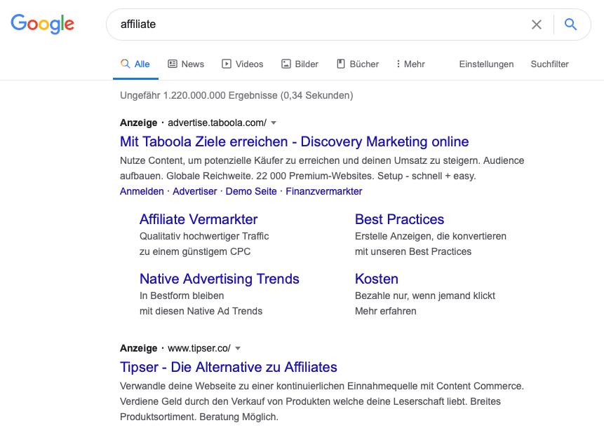 """Google-Suche zum Keyword ,,affiliate"""" zeigt SEA Ergebnisse."""