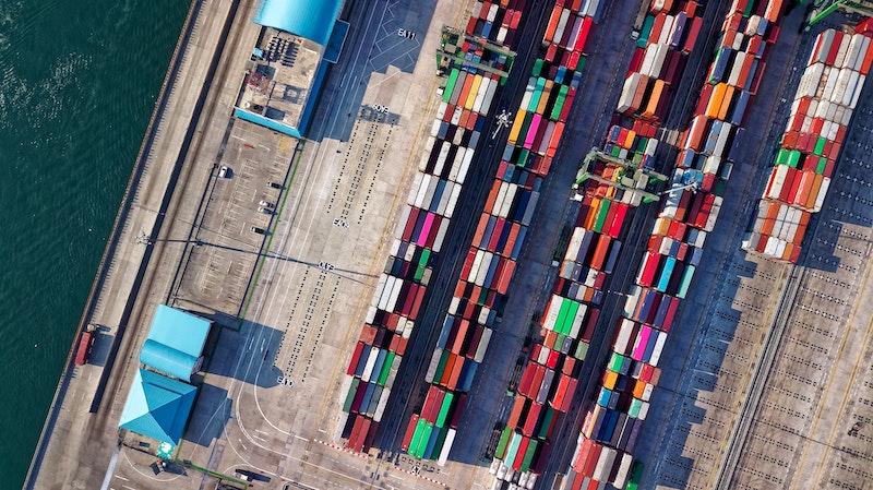 Aerial Shot of shipping yard.