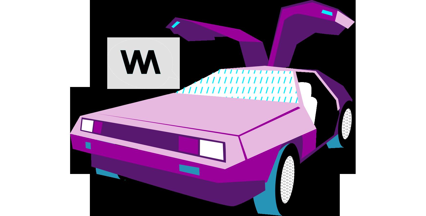 A retro futuristic pink car