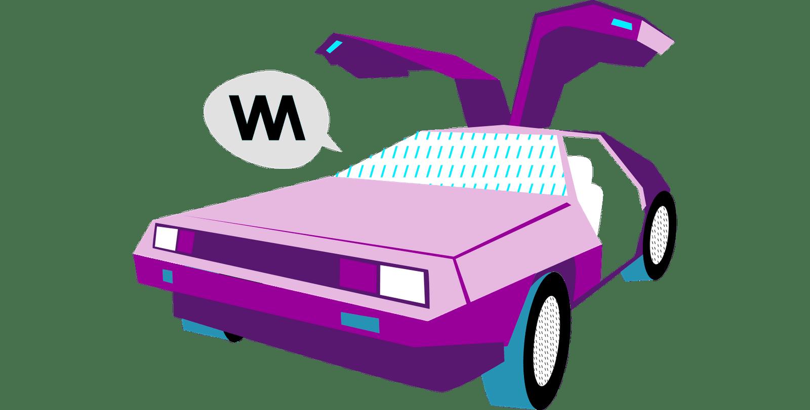 pink retro futuristic car illustration