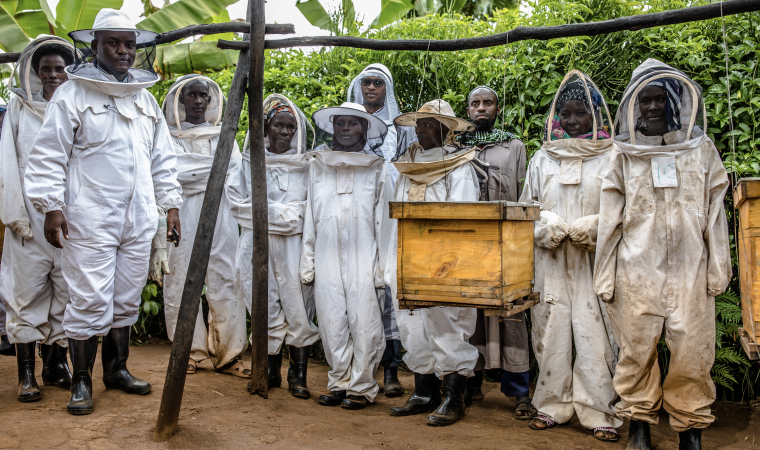 A portrait group of beekeepers in their protective wear around the beehives in Kigali, Rwanda