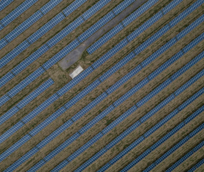 An aerial shot of a solar farm