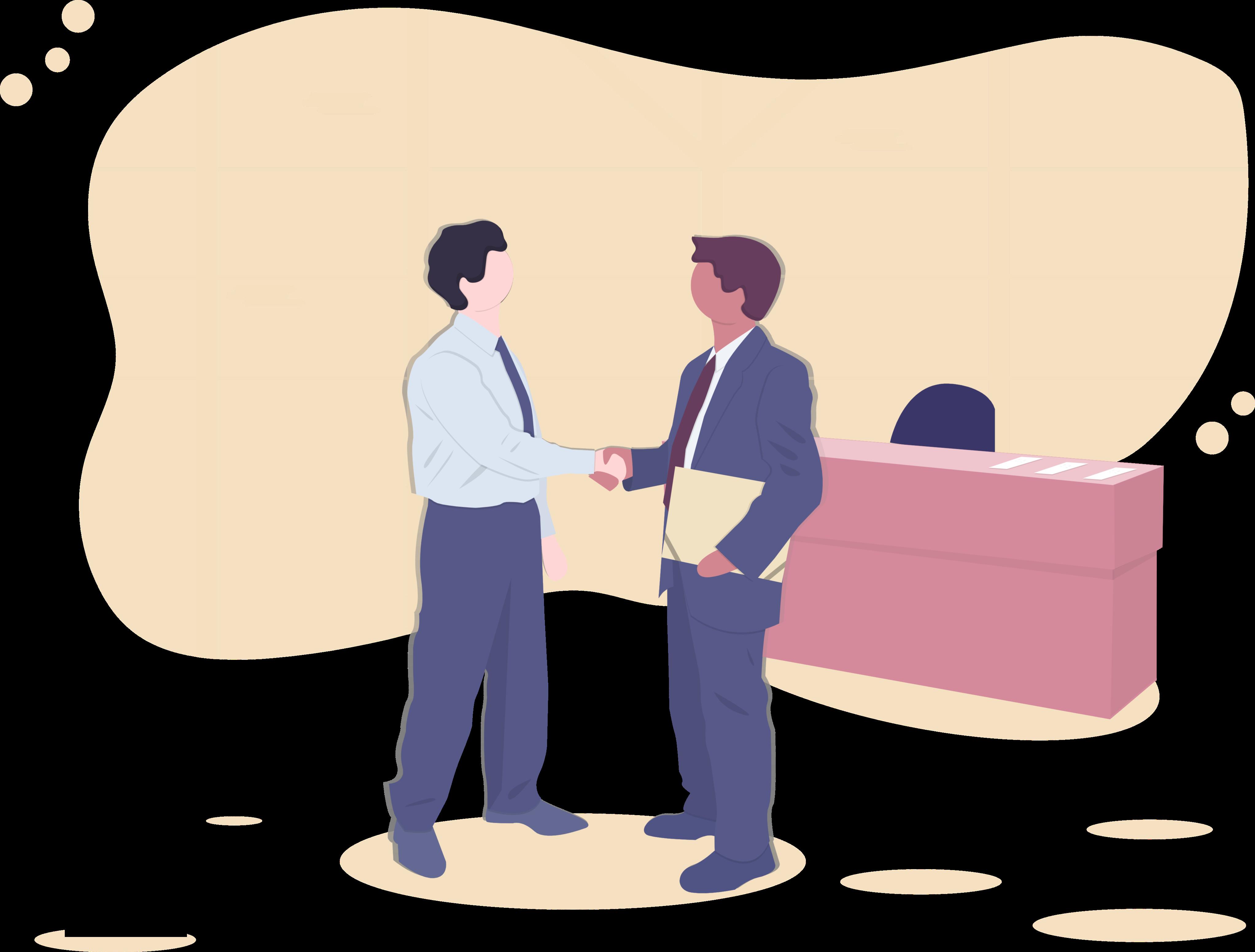 Two men shaking hands illustration