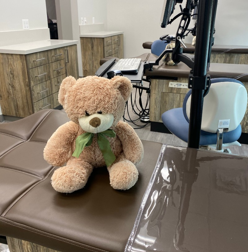 stuffed bear sitting on dental chair