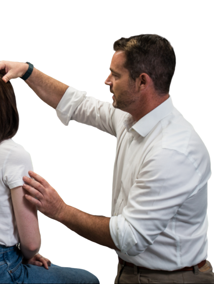 A medical practitioner assesses the health of a patient