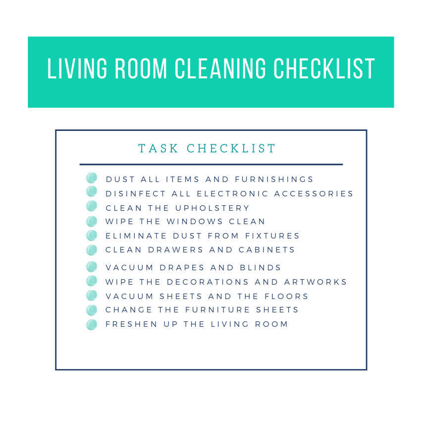 living room cleaning checklist template