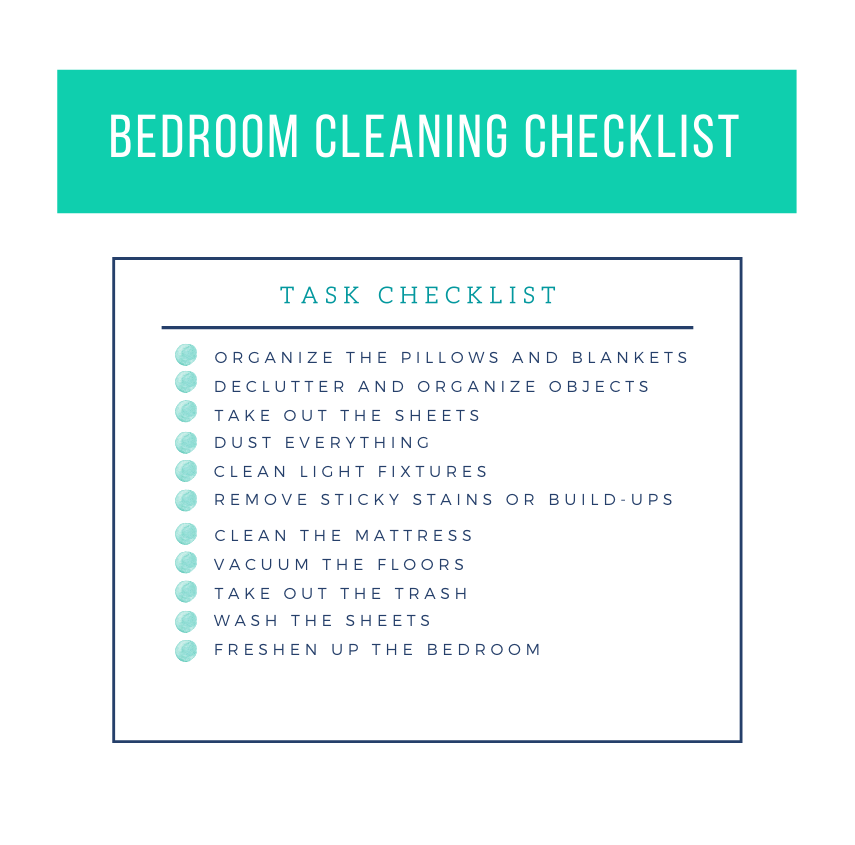 bedroom cleaning checklist template