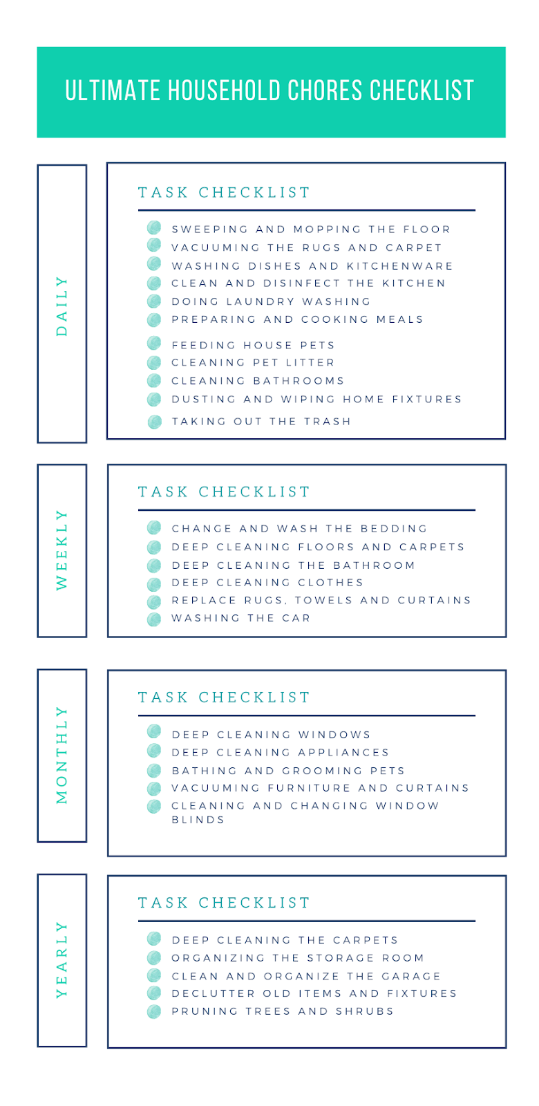 household chores checklist template
