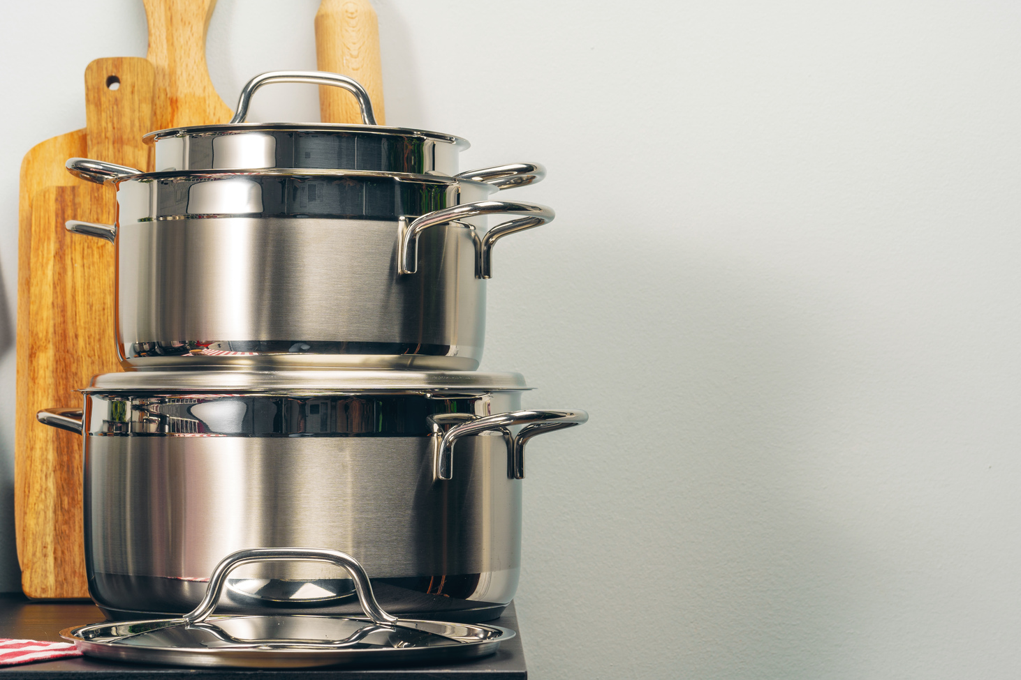 stacked stainless steel pots
