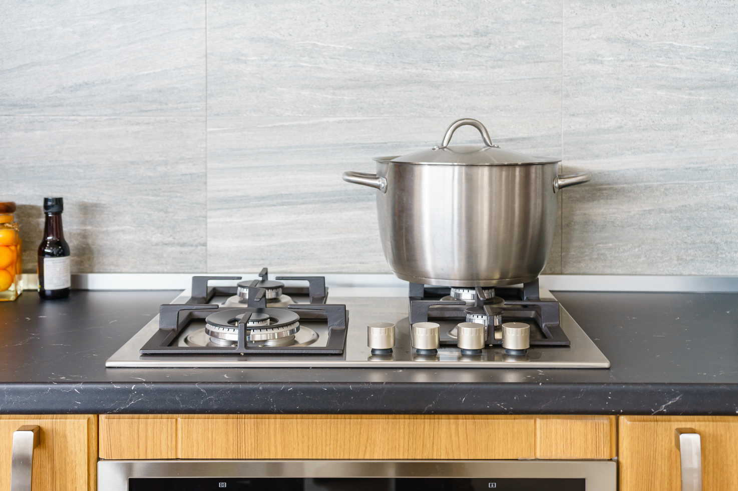 stainless steel pot on top of stove