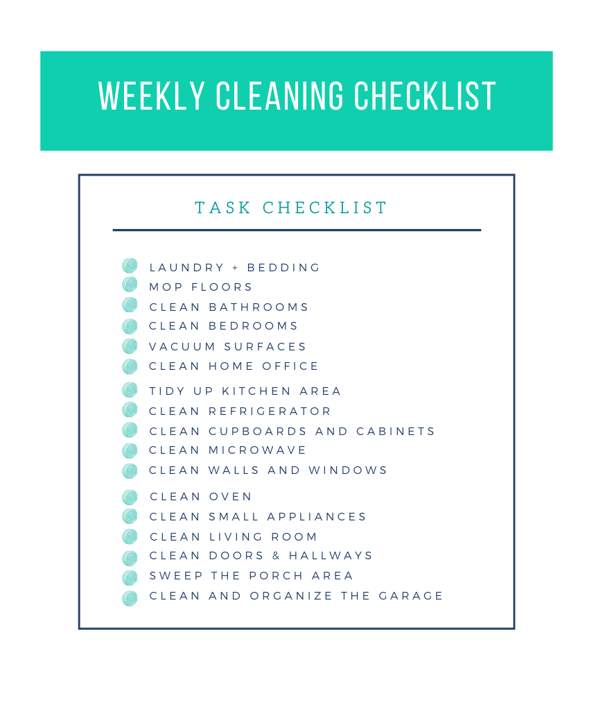 weekly house cleaning schedule checklist