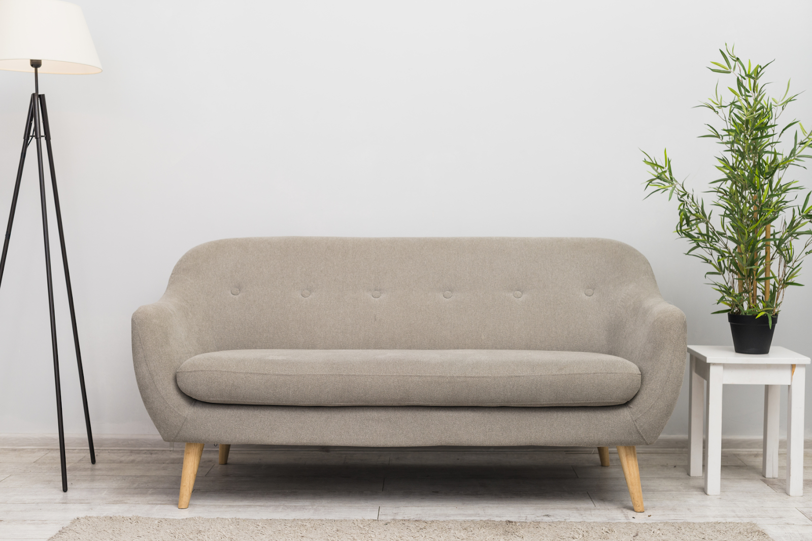 light brown fabric sofa with lamp and plant