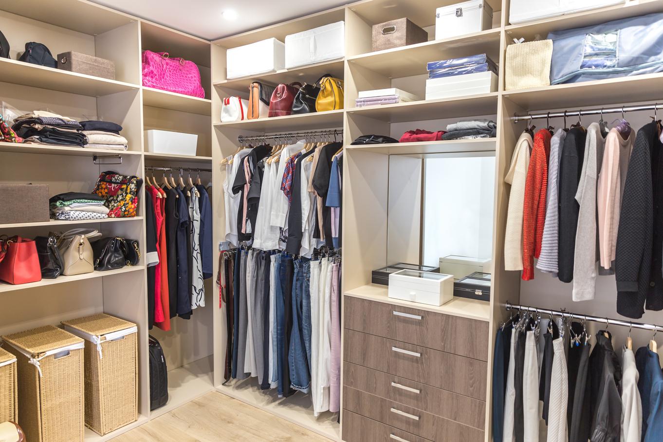 an organised walk-in closet