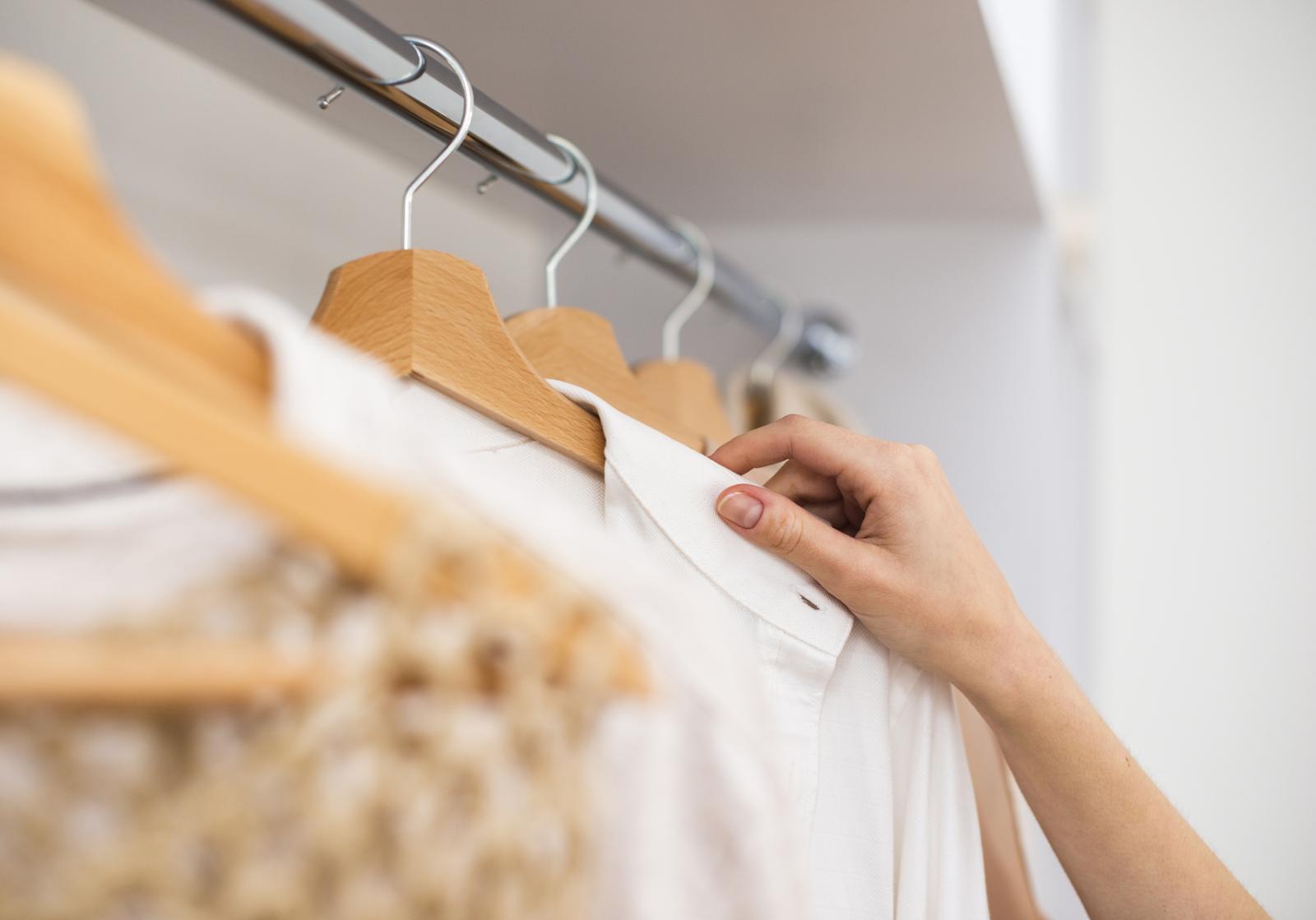 hanging delicate fabrics inside a closet