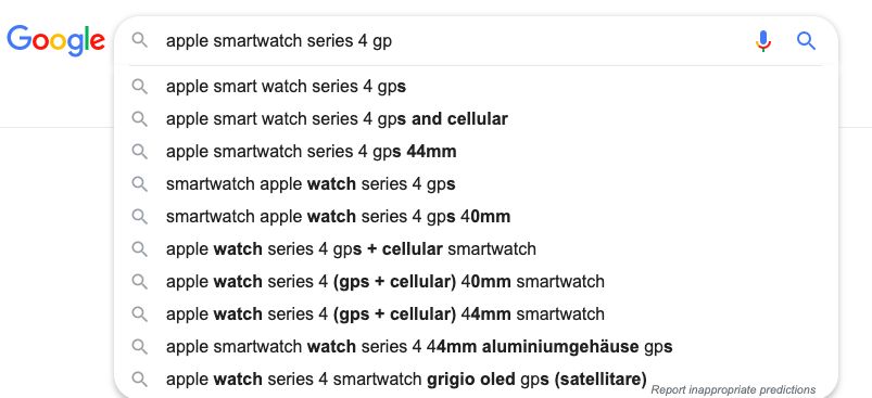 google seo search example