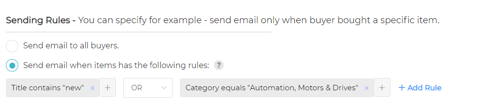 ebay thank you emails sending rules