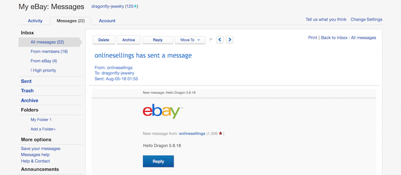 ebay messages example