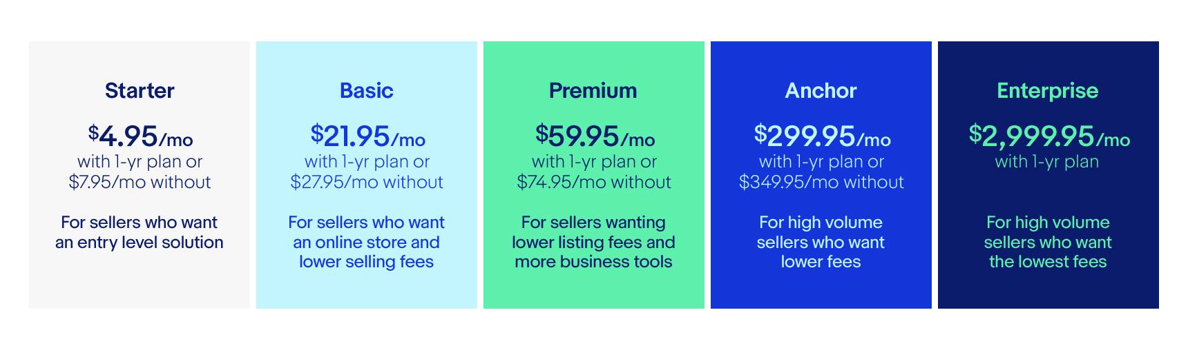 ebay store types