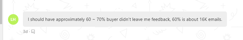 message from an ebay seller saying how many people don't leave ebay feedback