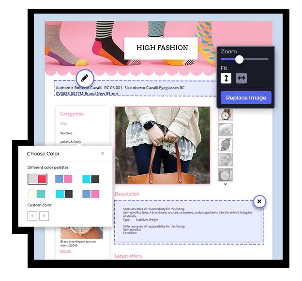 ebay store template, create ebay listing
