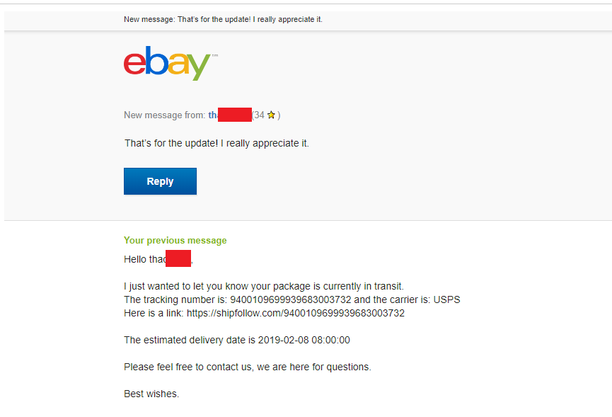 ebay messages responses