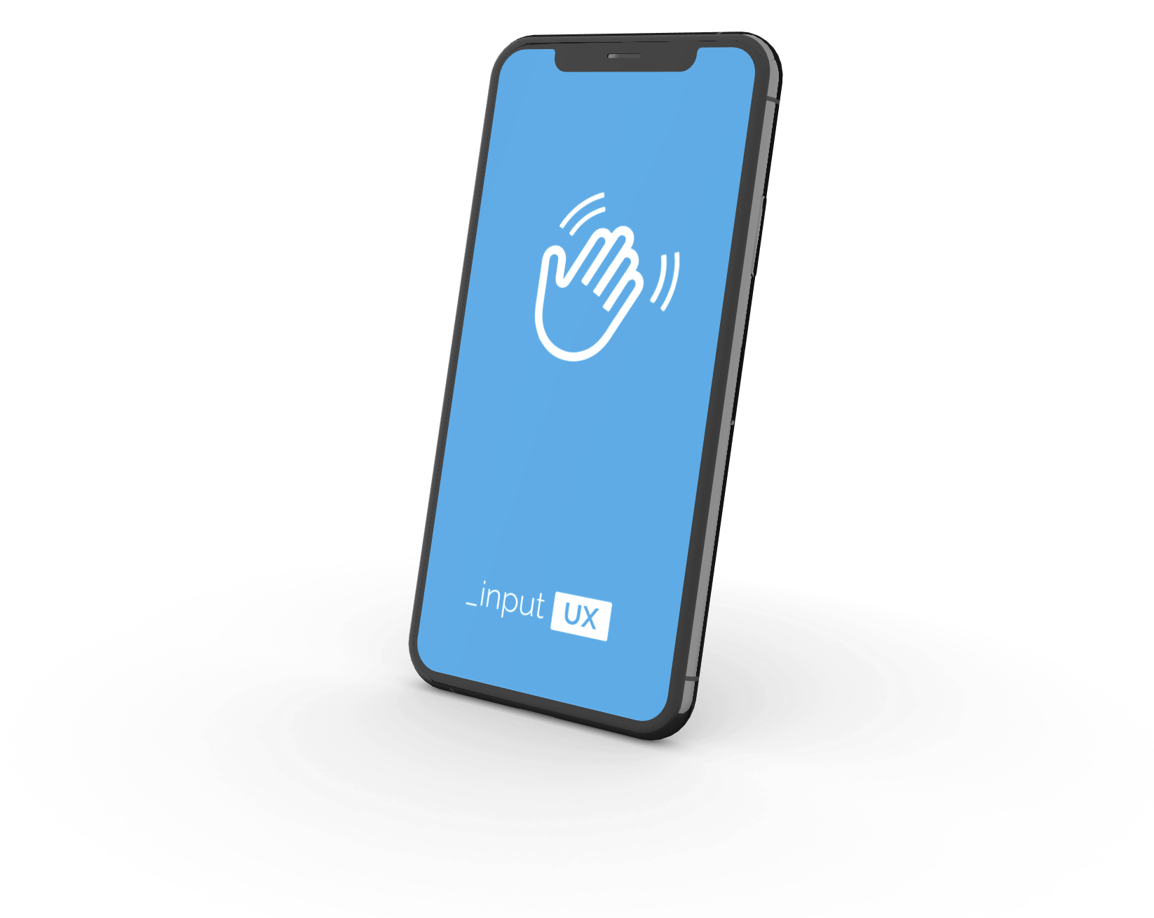 Mobile phone screen with illustrated hand waving