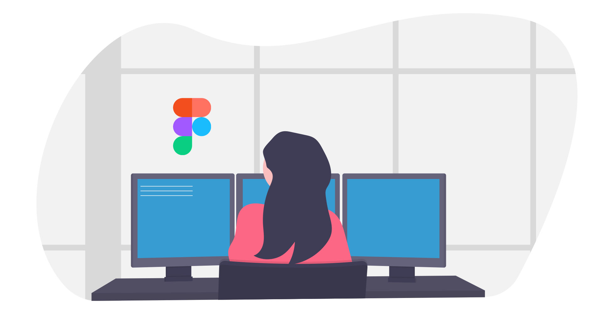 Illustration of a female working in Figma
