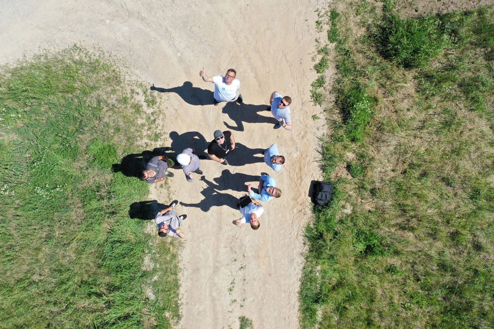 Drone picture of Energijos Skirstymo Operatorius and Sterblue teams in Lithuania