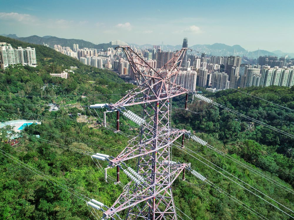 Drone picture from transmission tower inspection by Sterblue in Hong Kong