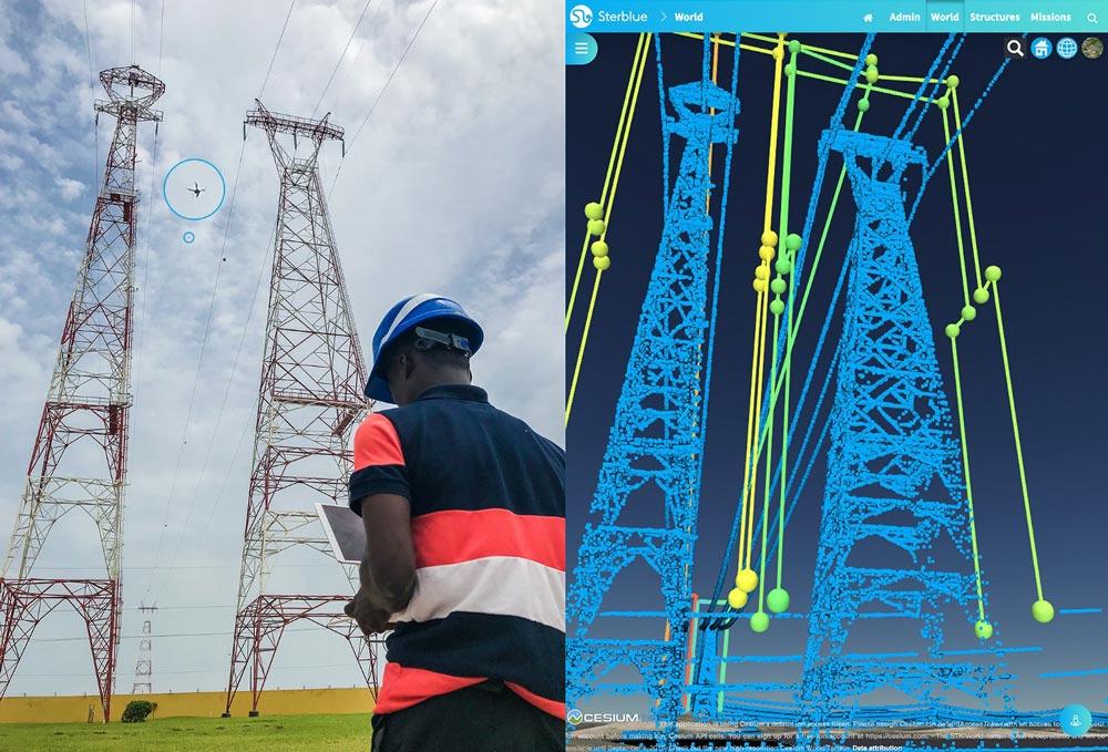 Transmissienet in Ivoorkust met drone operator versus de digitale tweeling in de Sterblue wolk