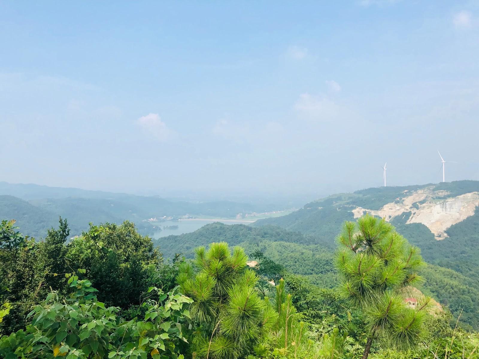 Wind turbines landscape in Yueyang