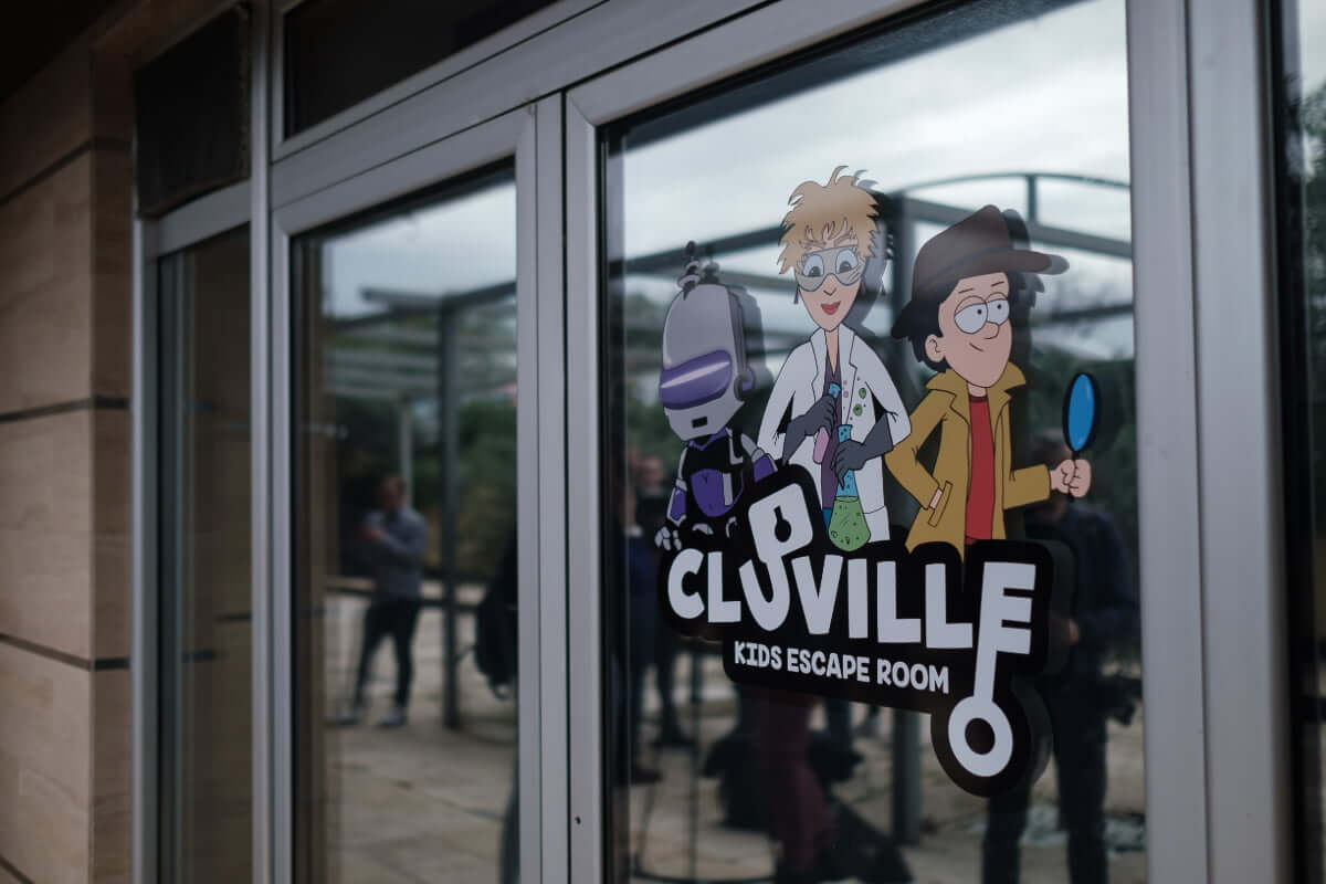 Entrance with cluville logo and characters