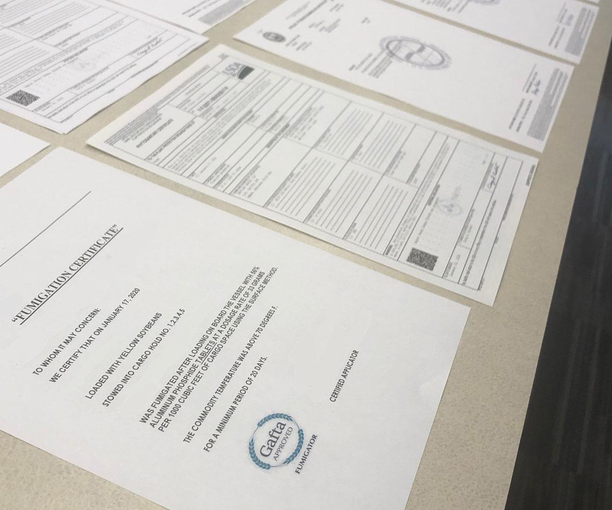 forwarding documents on a table