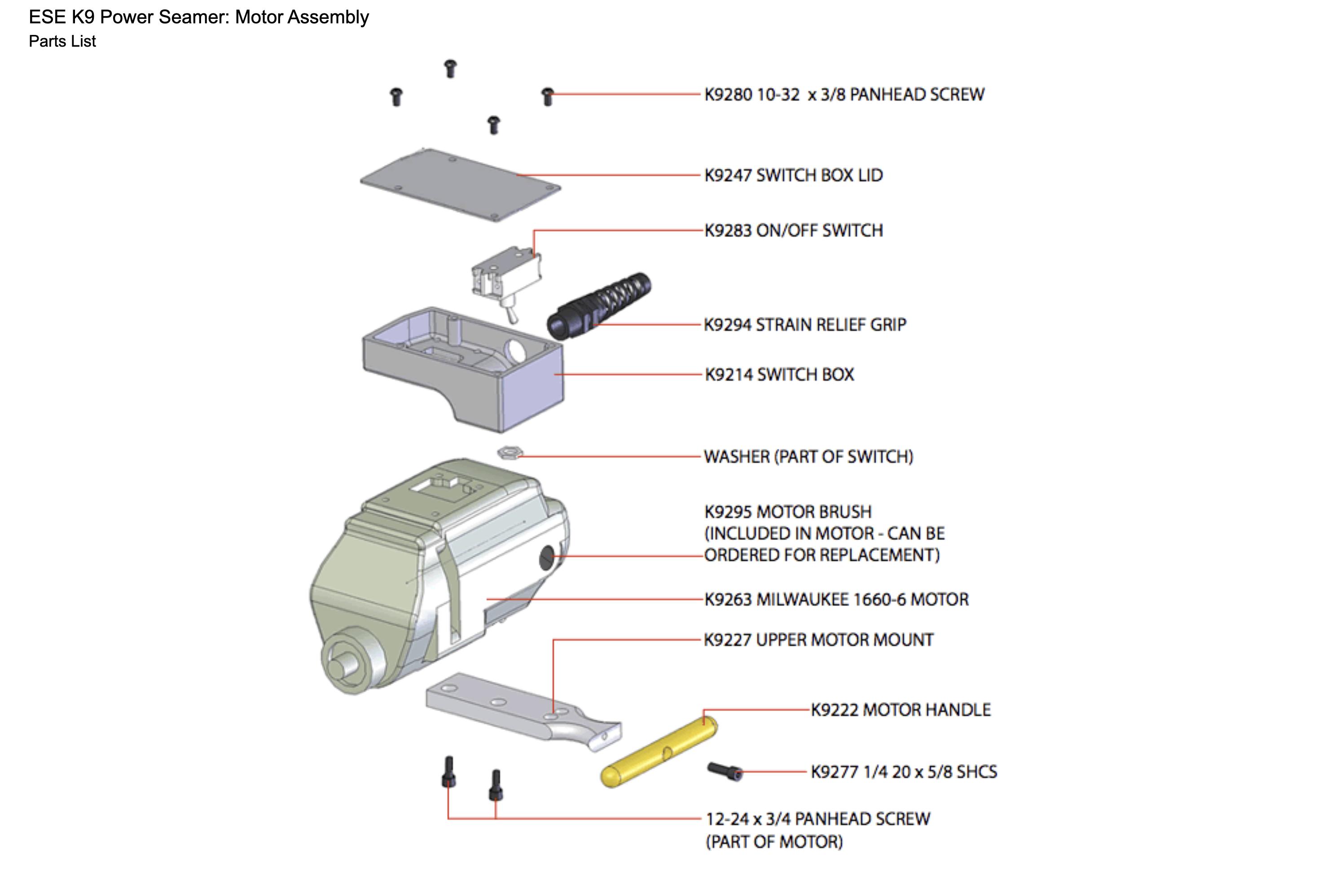 ESE K9 Power Seamer: Motor Assembly