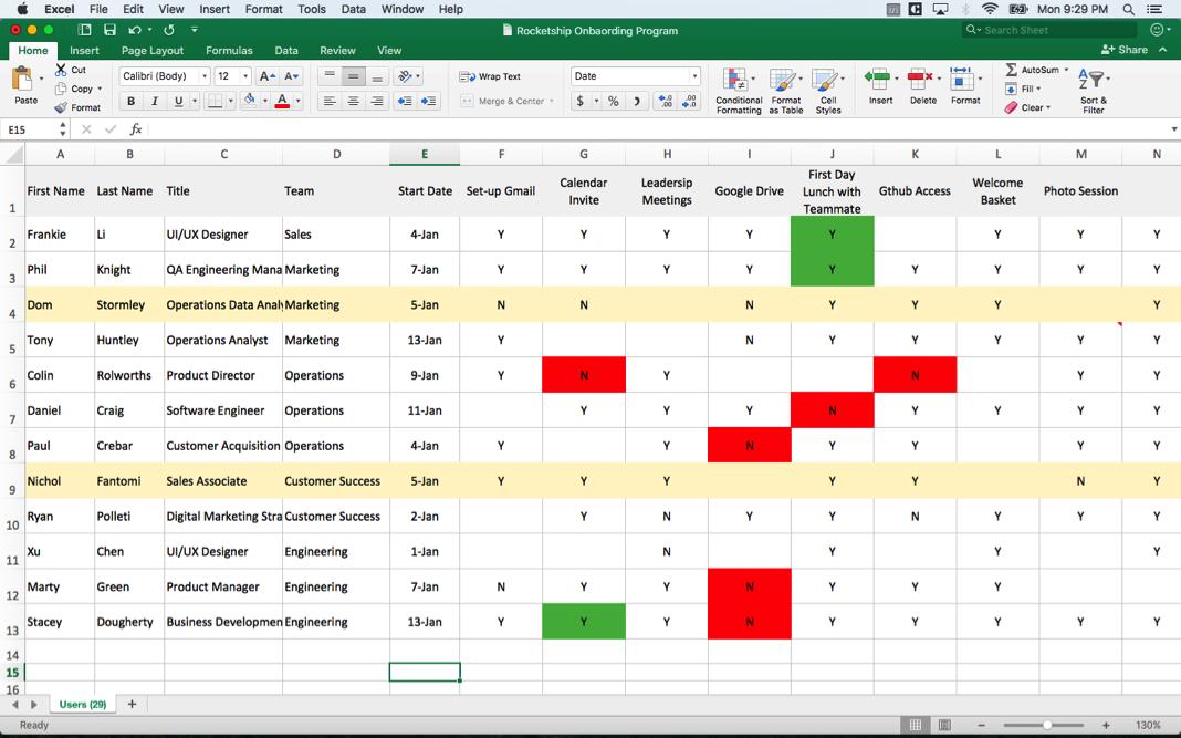 A Google Sheet 'Onboarding Tracker' is not an Employee Onboarding program.