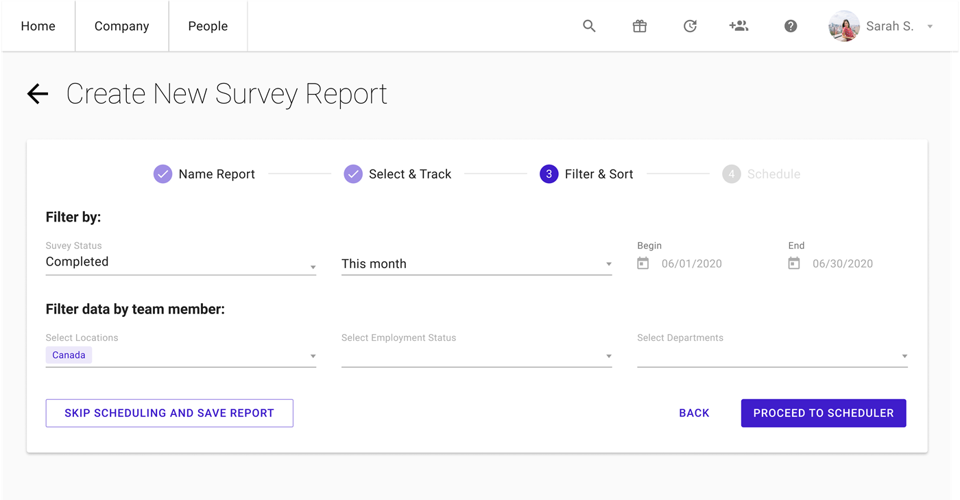 Sapling Surveys - Reporting Interface