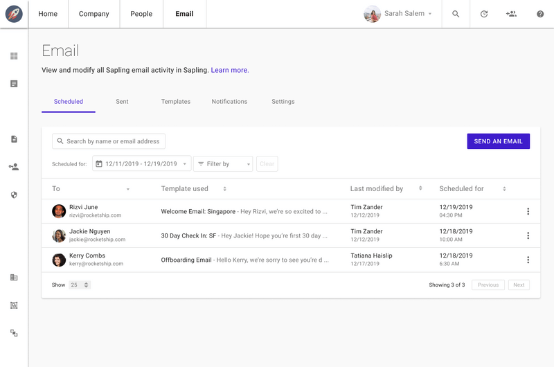 Sapling Surveys Interface for setting tasks