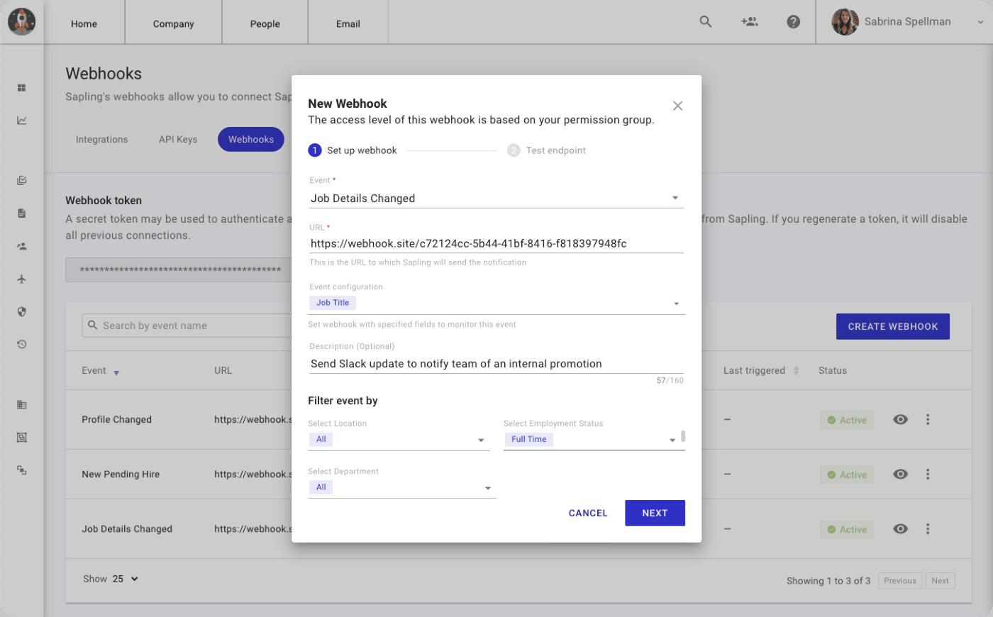Sapling Webhooks Dashboard Interface