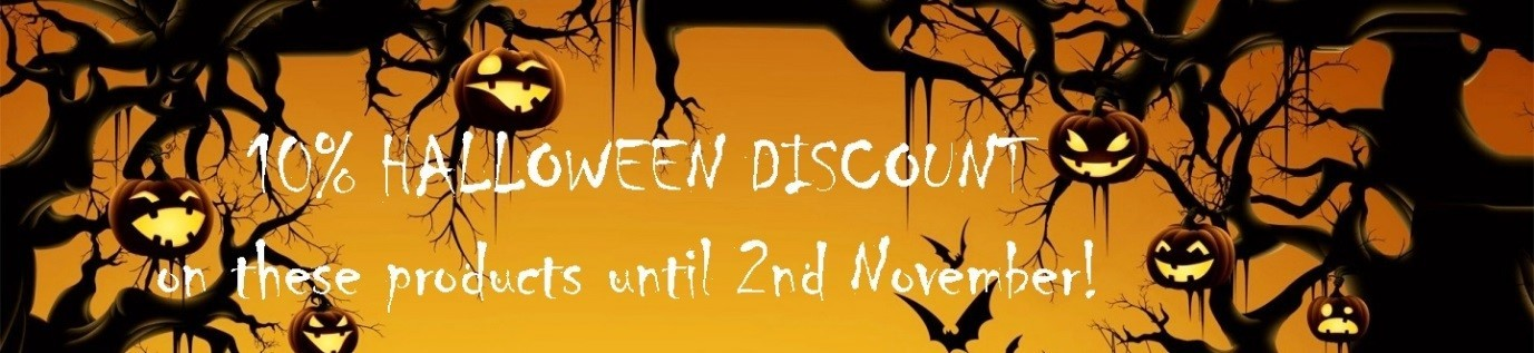 A halloween advertising banner showing illuminated pumpkins, bats and a scrawling font