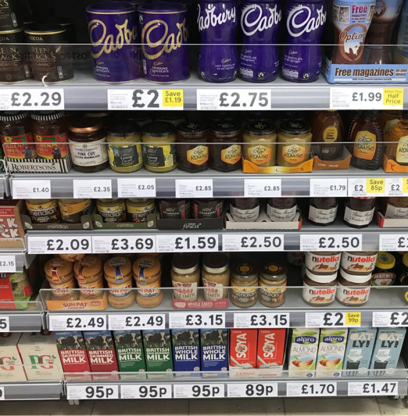 Image of supermarket shelves displaying product pricing - unusual numbers like £3.37 are much less appealing than rounded ones like £2.