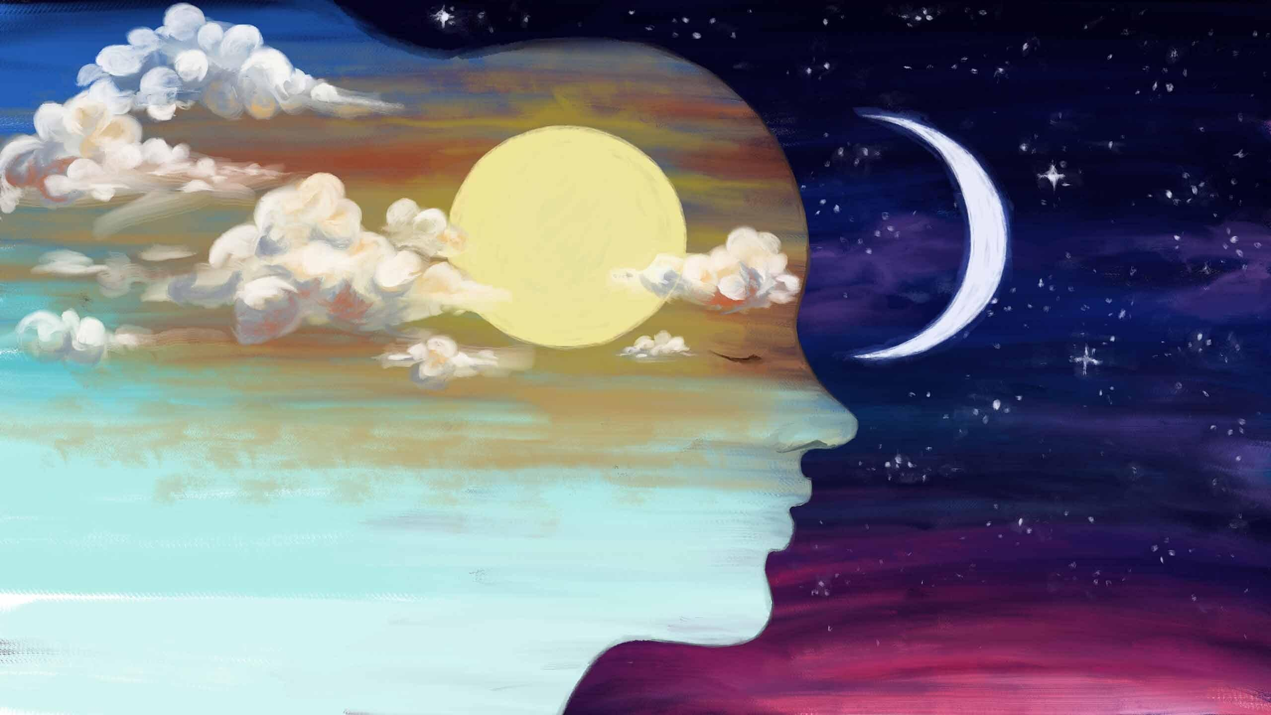 The silhouette of a persons face with a sunny sky within and a night sky outside