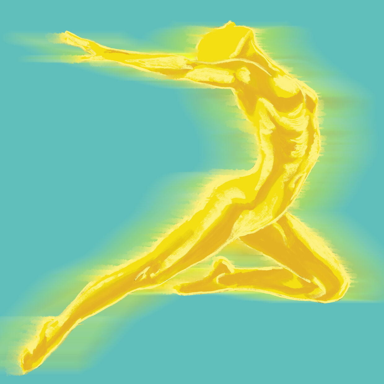 Energetic sculpted body posing