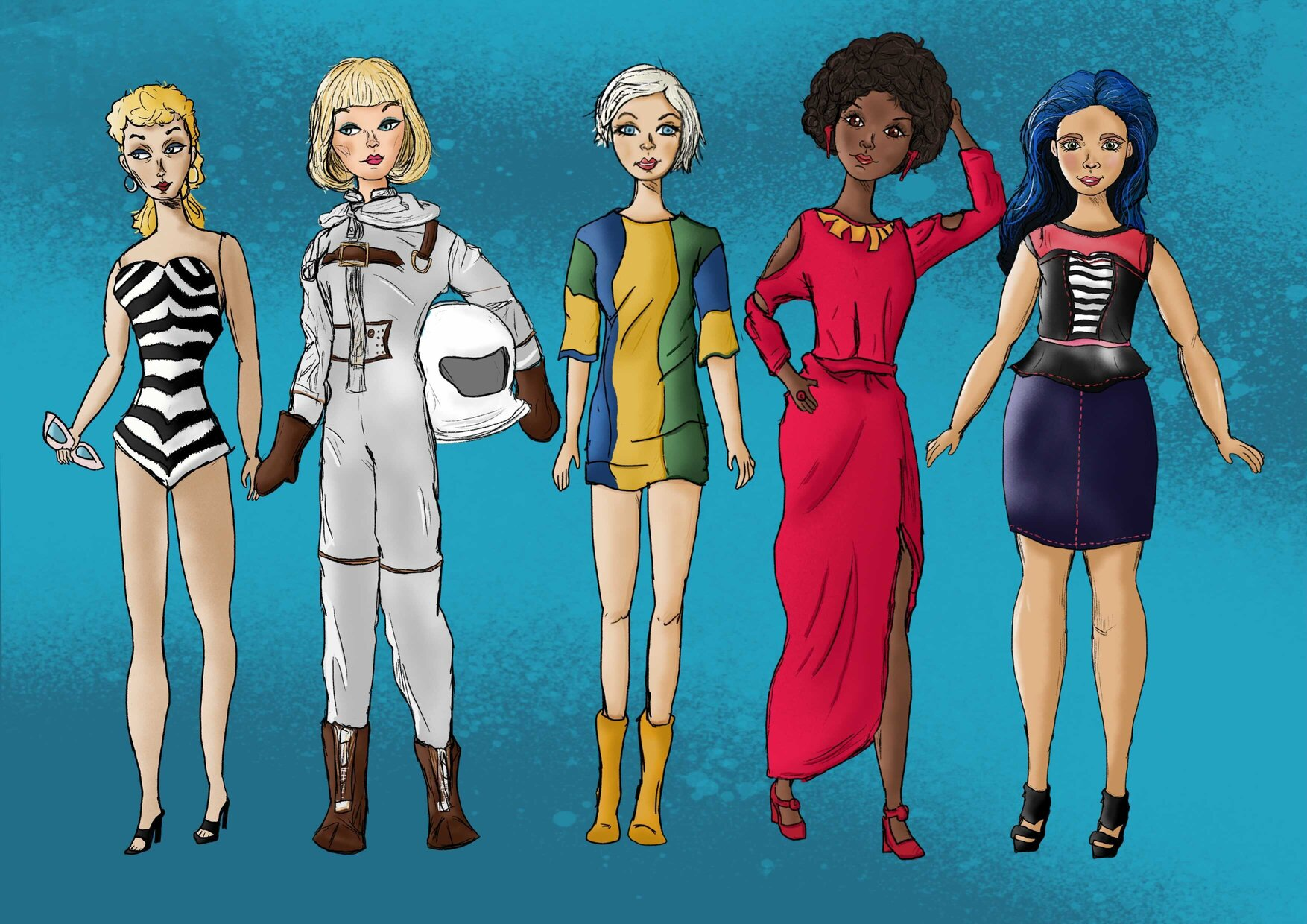 Five animated figures of the Barbie over time