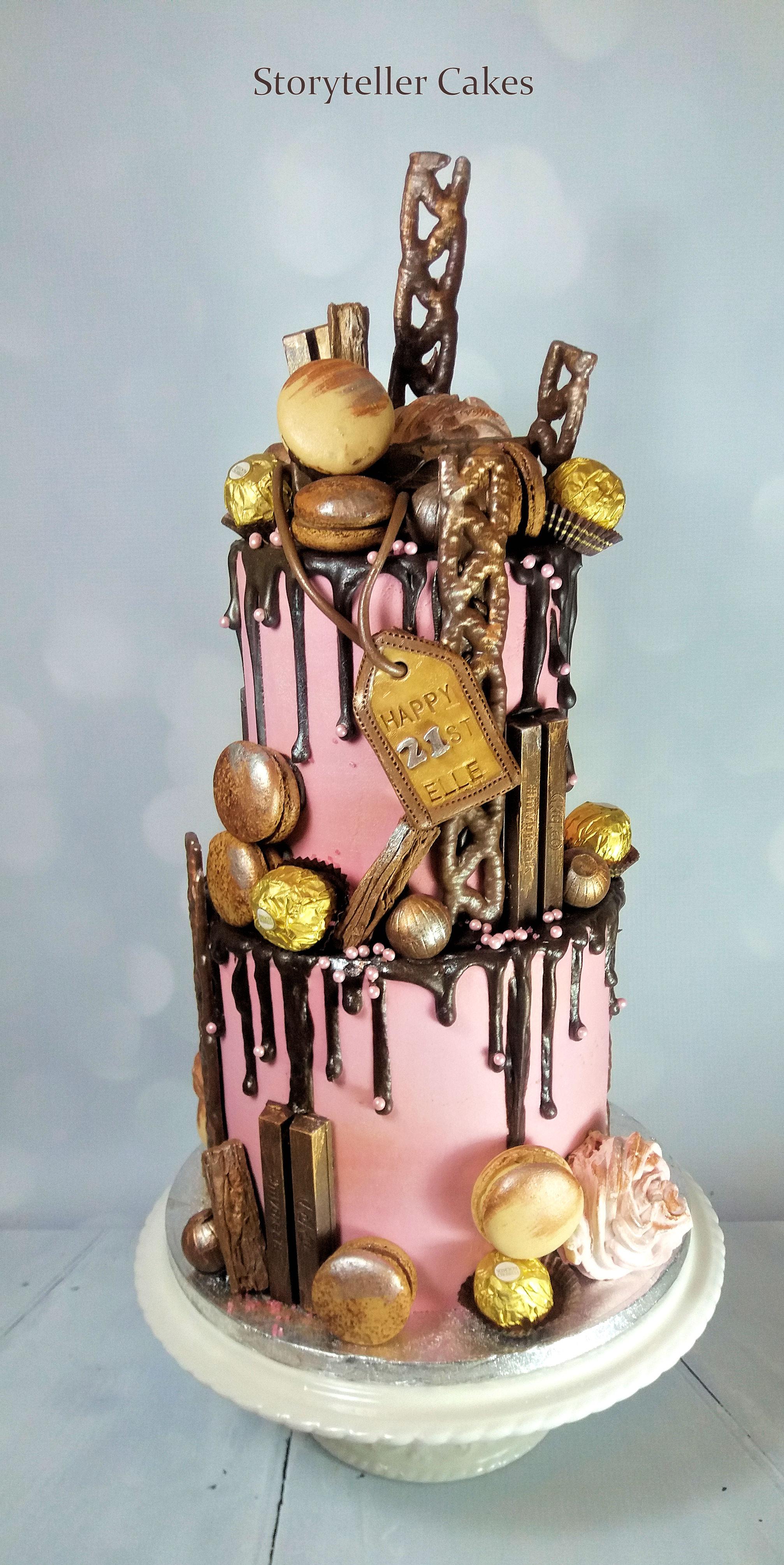 21st Chocolate & Pink Drippy Cake