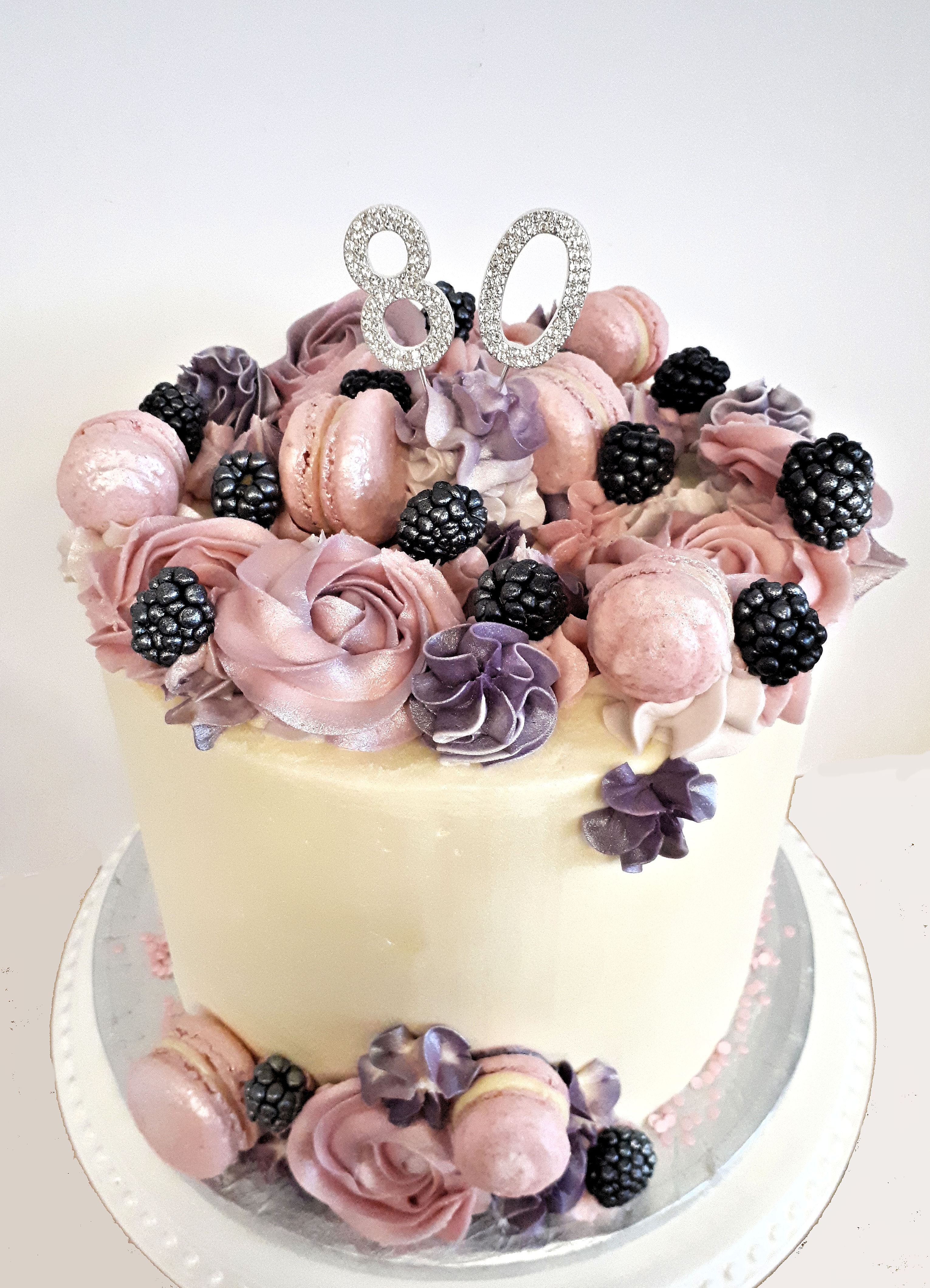 80th birthday buttercream cake